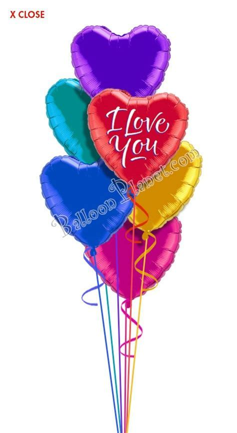 Colorful Hearts III I Love You Balloon Bouquet (7 Balloons
