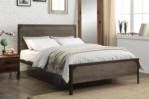 Rustic Metal Bed Frames by Industrial Rustic And Wood Style Metal Bed Frame With
