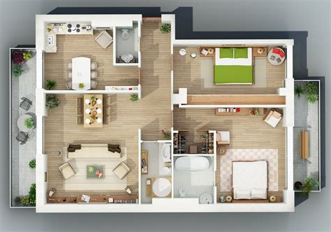 create 3d floor plans apartment designs shown with rendered 3d floor plans