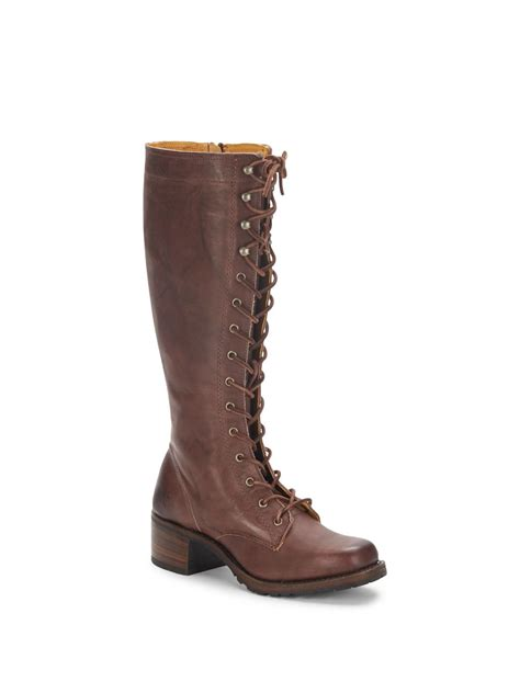 lug boots frye cus lace up leather lug boots in brown lyst