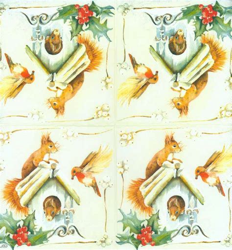 Bird Decoupage Paper - decoupage paper napkins of bird and squirrels in a birdhouse