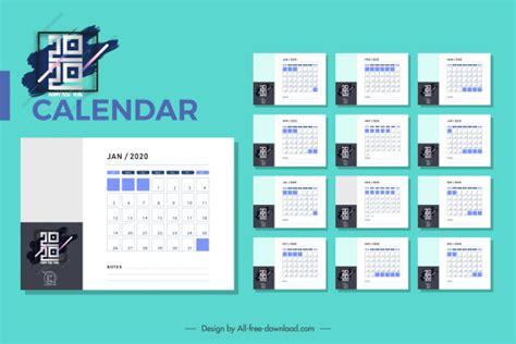 calendar templates modern abstract black white decor  vector  adobe illustrator ai