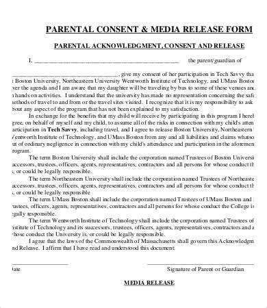 parent release form template media release form template 8 free sle exle