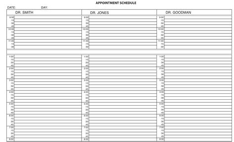 patient scheduling template best photos of scheduling appointment slots template