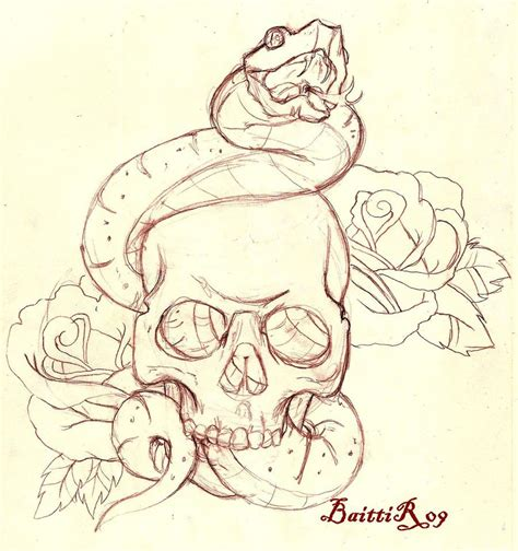 skull rose snake tattoo ideas by stephen waller