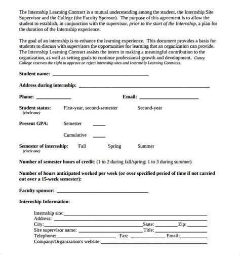 learning agreement template learning contract template 15 free documents