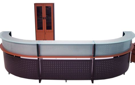 Glass Top Reception Desk 2 Person Wrap Around Glass Top Reception Desk