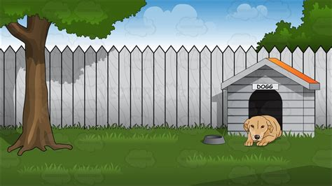 dog house background backyard with doghouse background cartoon clipart vector toons