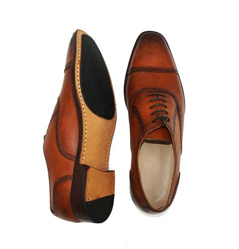 patina brown brogue cap toe oxford formal leather