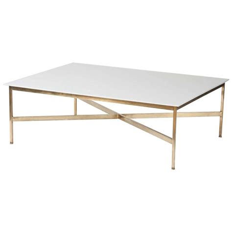 Brass And Glass Coffee Table Large Paul Mccobb Brass And Vitrolite Milk Glass Coffee Table At 1stdibs