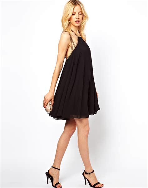 strap swing dress asos embellished strap back swing dress in black lyst