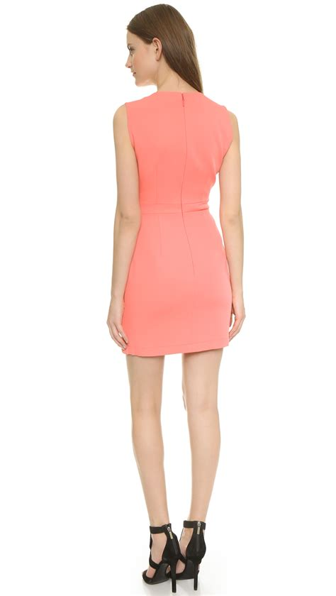 Clare Pink Dress bcbgmaxazria clare dress pink coral in pink lyst