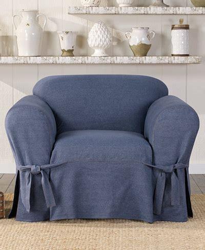 sure fit denim slipcover sure fit authentic denim one piece t cushion chair