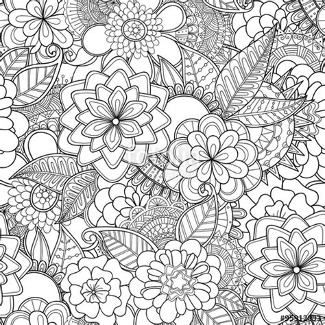 doodle royalty free quot doodle flowers seamless pattern zentangle style