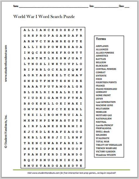 World War One Information And Activity Worksheets Answers
