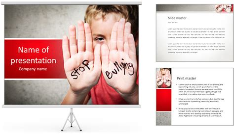templates powerpoint bullying stop bullying written on boy s palms powerpoint template