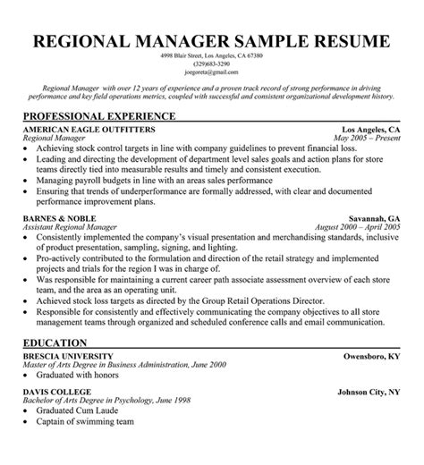 Regional Sales Director Description by Sales Professional Resume Objective