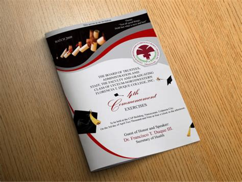 14 Graduation Brochure Templates Free Psd Eps Illustrator Ai Pdf Format Download Free Program Booklet Design Template