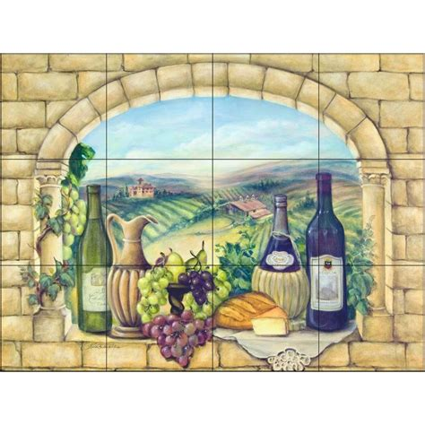 home depot wall murals tuscan wine 24 in x 18 in ceramic mural wall tile 15 830 2418 6c the home depot