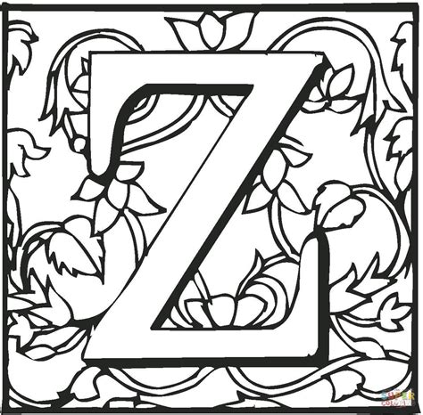 Z Coloring Pages Printable by Letter Z With Ornament Coloring Page Free Printable