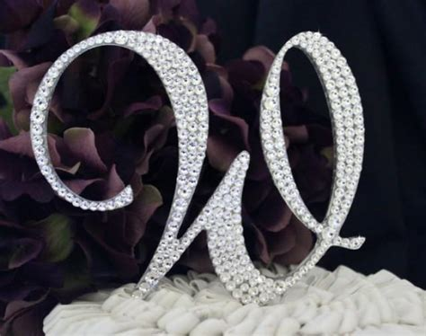 letter w wedding cake topper monogram wedding cake topper decorated with swarovski