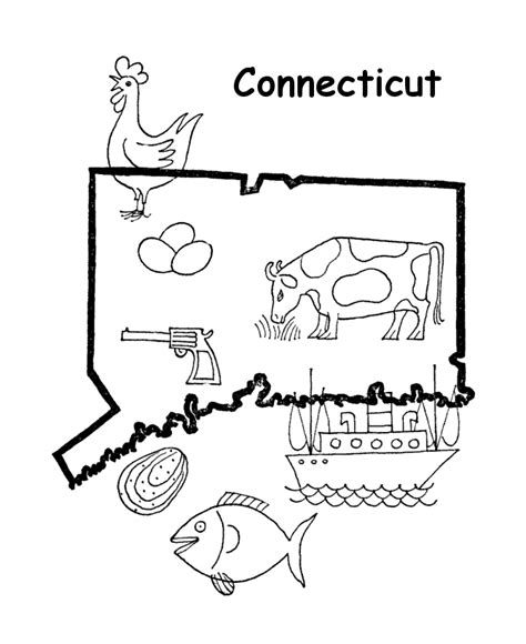 connecticut map coloring page usa printables state outline shape and demographic map