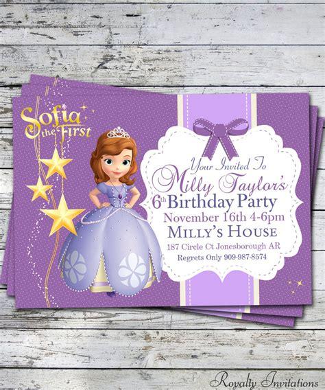 sofia   birthday party invitation kids birthday