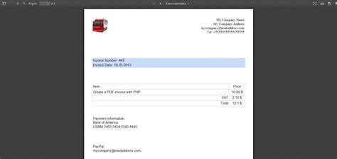 free php script to create pdf invoices download