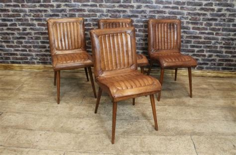 Retro Leather Dining Chairs Retro Style Leather Dining Chair