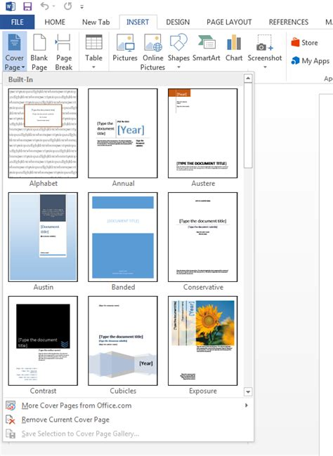 create page template how to create a cover page in microsoft word 2013