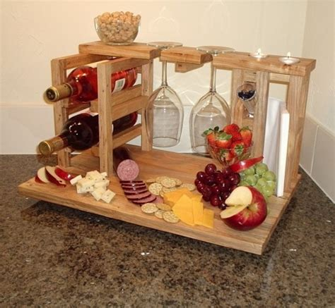 Wine Rack Board by Wine And Cheese For 2 With Wine Rack Glass Holder And