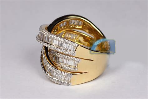 womens baguette highway ring band 18k gold 3 93 ct