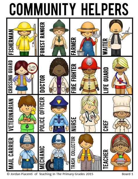 printable images community helpers community helpers and occupations bingo game community