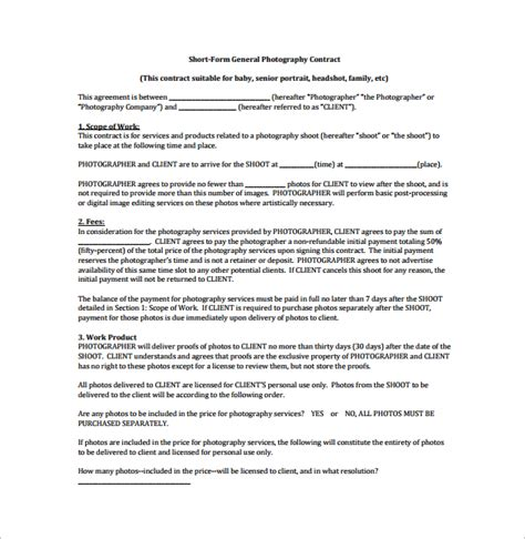 sample photography contract form 10 free documents in doc pdf