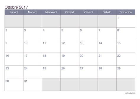 Calendario Lunare Ottobre 2017 Calendario Ottobre 2017 Jongose