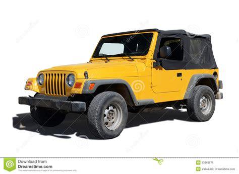 Jeep Amarillo Jeep Amarillo Aislado En Blanco Foto De Archivo Imagen