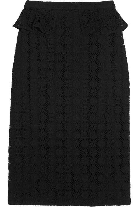 burberry prorsum crocheted lace peplum pencil skirt in