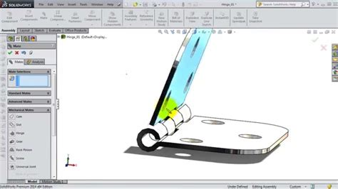 solidworks tutorial assembly mates solidworks assembly tutorial 124 hinge mate youtube
