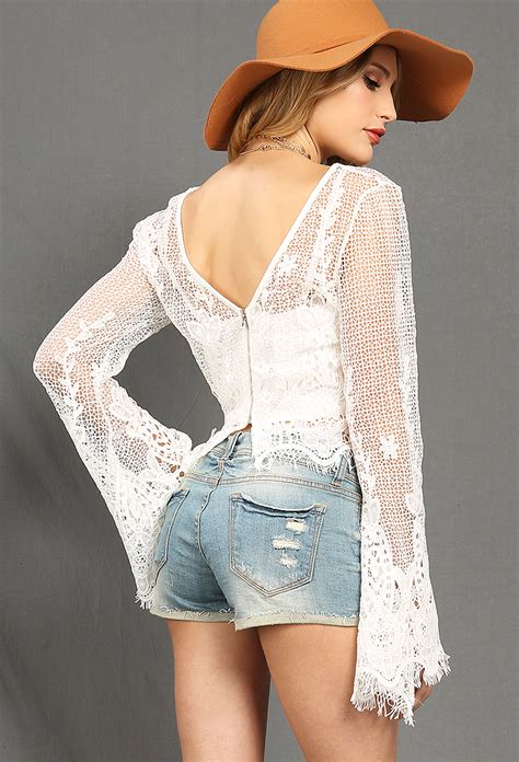 At11886 Layer Top Blouse layered bell sleeve crochet lace top shop blouse