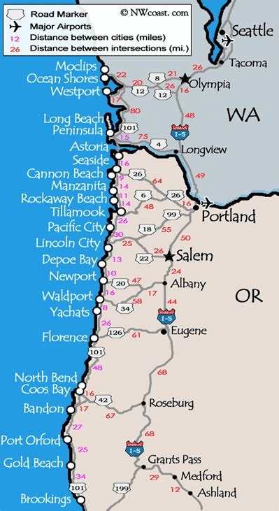 oregon coast map oregon coast map favorite