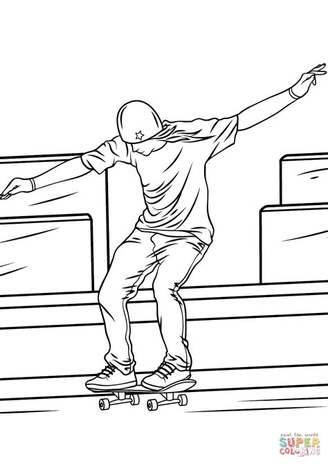 skateboarding coloring pages free printables man riding a skateboard coloring page free printable