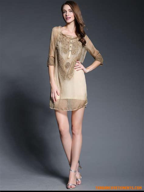 Robe Dentelle Femme - robe femme soie or robe jupe de dentelle mousseline