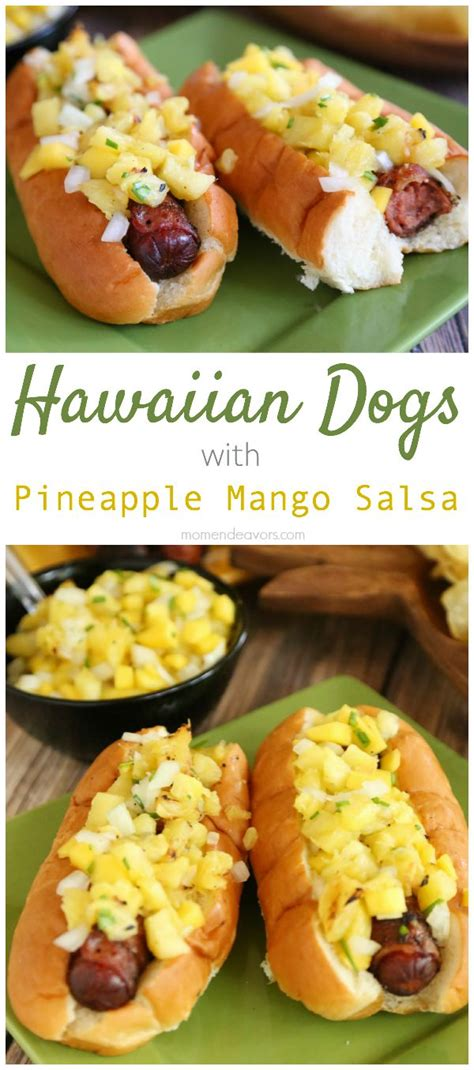 mango and dogs hawaiian style dogs with mango salsa and pineapple mustard recipe dishmaps