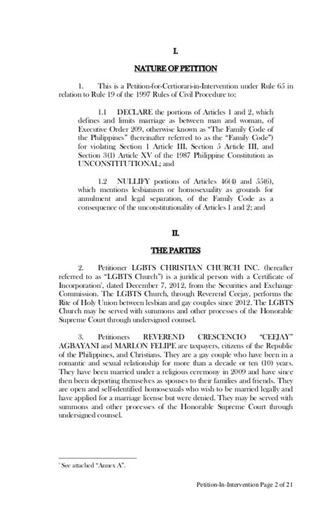 Sle Petition Certiorari Rule 65 Petition In Intervention To The Supreme Court Of The Philippines On M