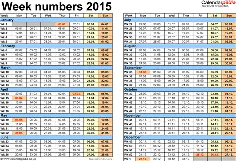 Calendar Week Numbers Week Numbers 2015 With Uk Bank Holidays