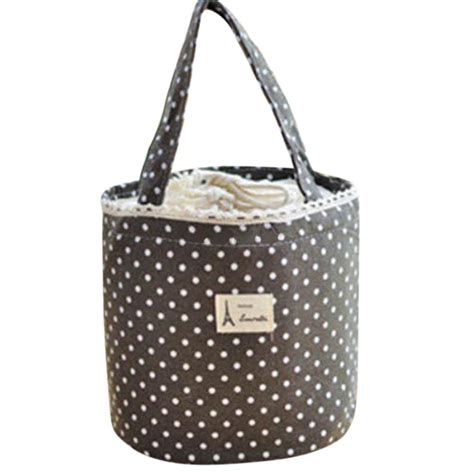 Drawstring Lunch Box Bag portable linen cotton polka dot drawstring insulated food