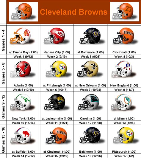 simononsports 2010 cleveland browns printable helmet schedule