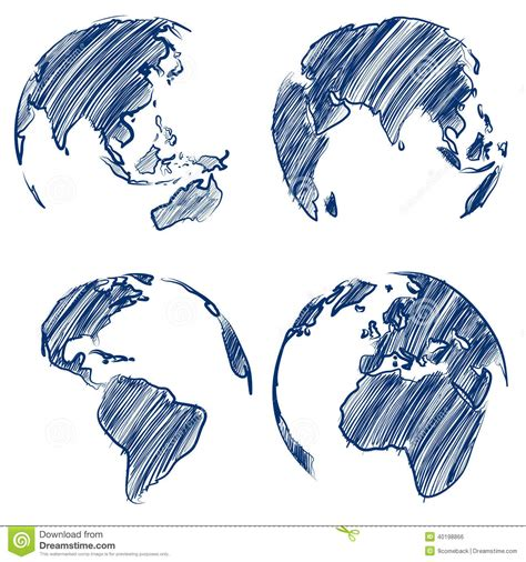 hand drawn vector tutorial globe vector stock vector image 40198866