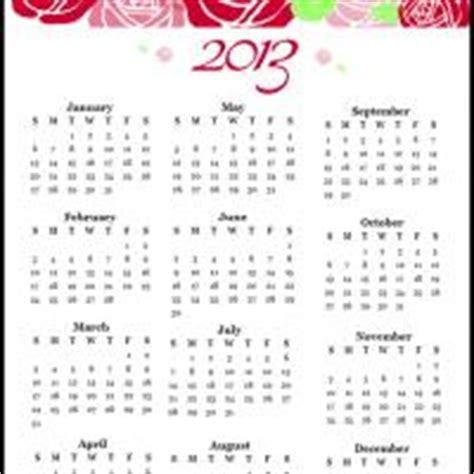 2013 printable calendar year view 2013 roses calendar