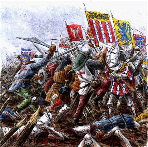 longbowman vs crossbowman hundred battle of agincourt french english foot soldiers clash picture